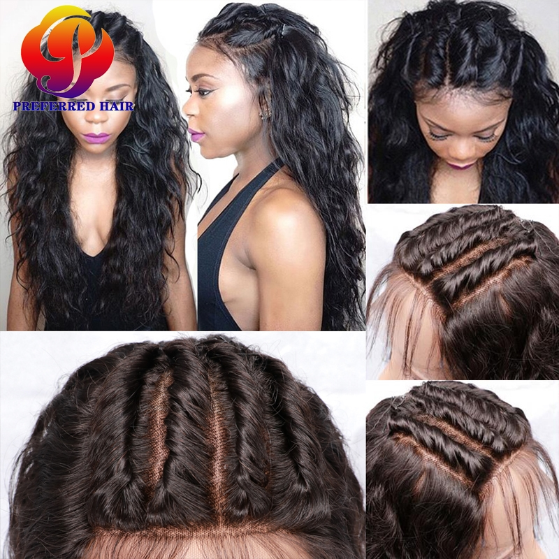 56.44$  Watch now - http://aliqgf.worldwells.pw/go.php?t=32755350552 - Full Lace Human Hair Wigs For Black Women Malaysian Glueless Full Lace Wigs Water Wave Lace Front Human Hair Wigs With Baby Hair 56.44$