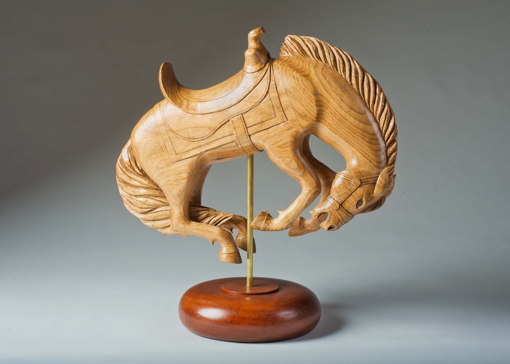 """1st in Class 405 - Carousel Animals/ Menagerie - all finishes    Jane Vriesacker, Reedsburg, WI    Bronco    15"""" x 8"""" x 15"""""""