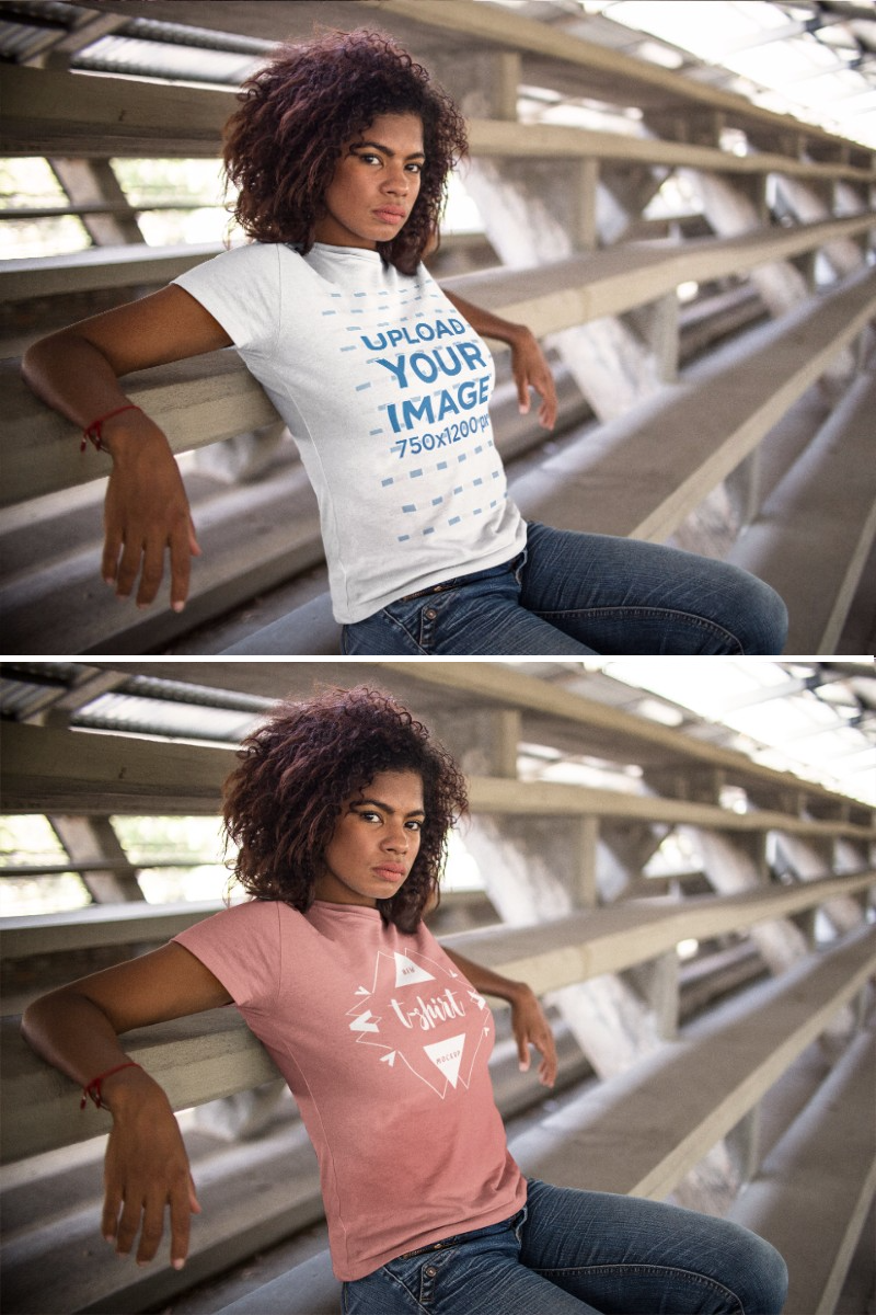 Download Placeit Mockup Of A Young Woman Wearing A Round Neck T Shirt While Sitting Down In A Big Stairway Women Women Wear How To Wear