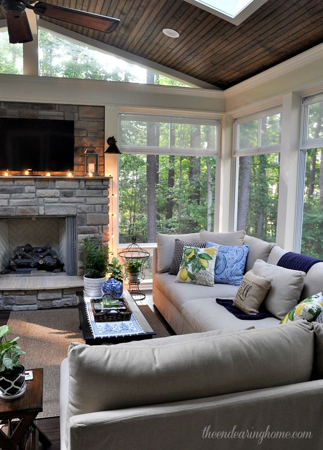 A furnished version of the fireplace back porch i have to for Back porch fireplace