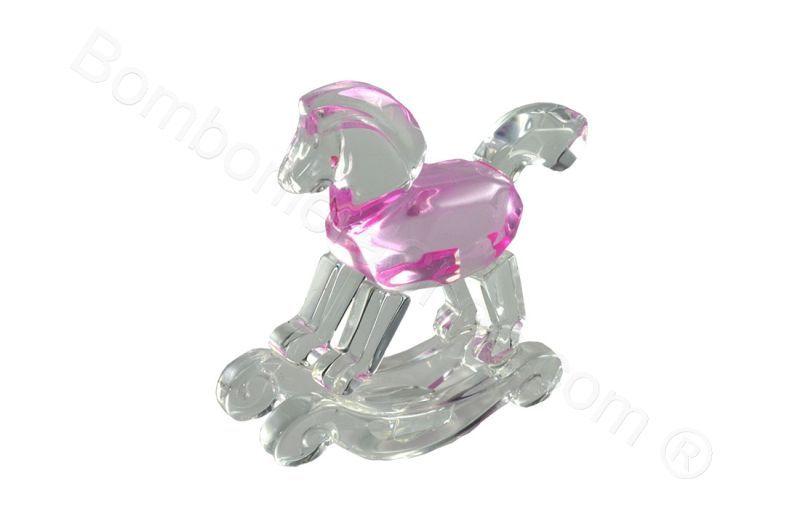Cavallino a dondolo in acrilico rosa con scatola di serie (CB)