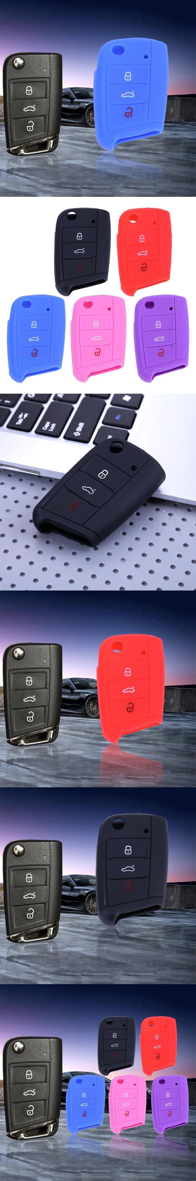 Car dashboard accessories toys  Car Accessories Silicone  Button Remote Flip Key Case Fob Protect