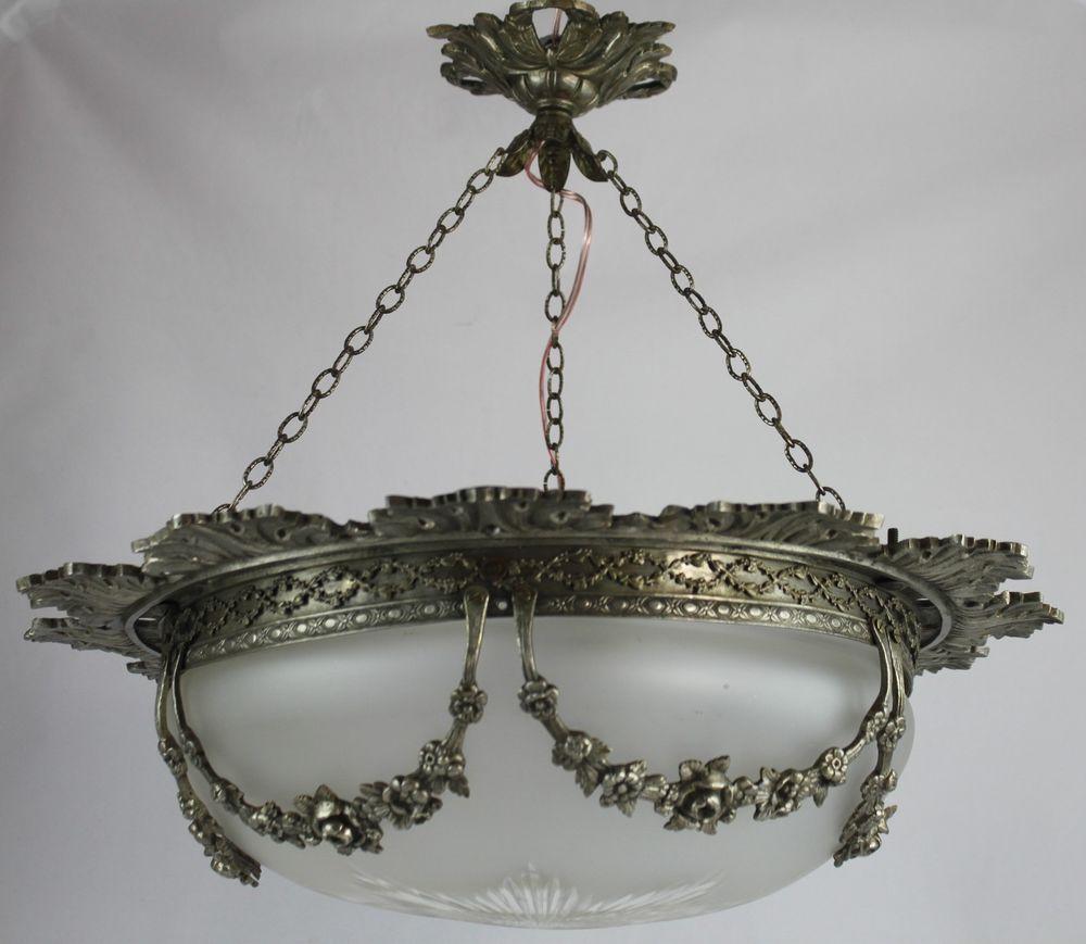 Alte Jugendstil Lampe traumhafte große Hängelampe