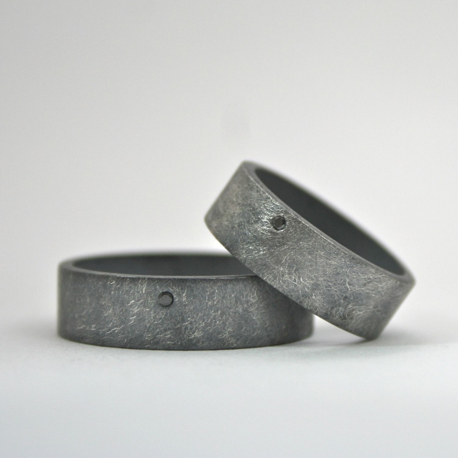 black diamond ring set - wedding bands - oxidized finish - wide