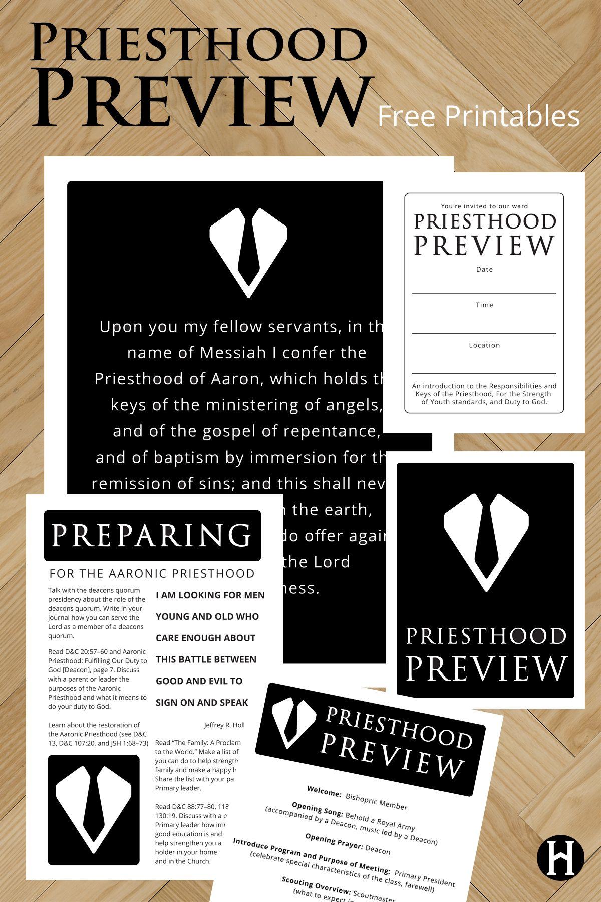Free Priesthood Preview Printables