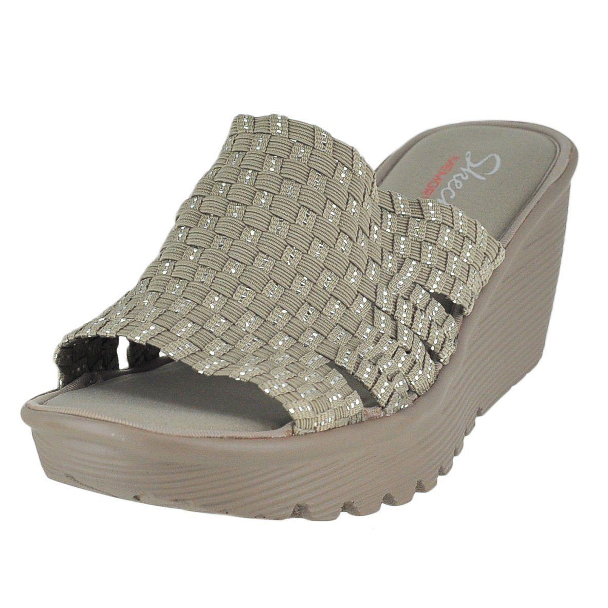 a831c49b8872 Skechers Cali Women s Parallel-Milk and Honey Wedge Sandal