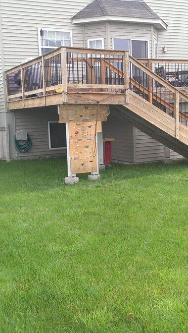 Kid S Climbing Wall Under The Deck Cool To Put On New