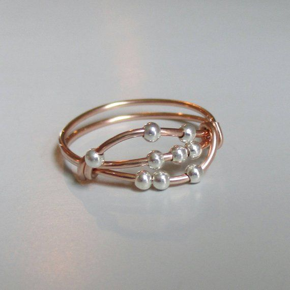 Photo of Uma Fidget Ring, Rose Gold Ring, Wire Wrapped Ring, Handmade Jewelry, Stacking Ring, Gift for Her