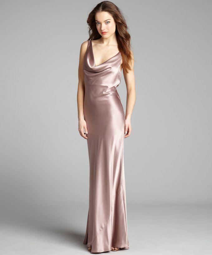 46de1493805e Mink Satin Cowl Neck Crisscross Draped Sash V-Back Gown  Dress  Women   DressesSkirts