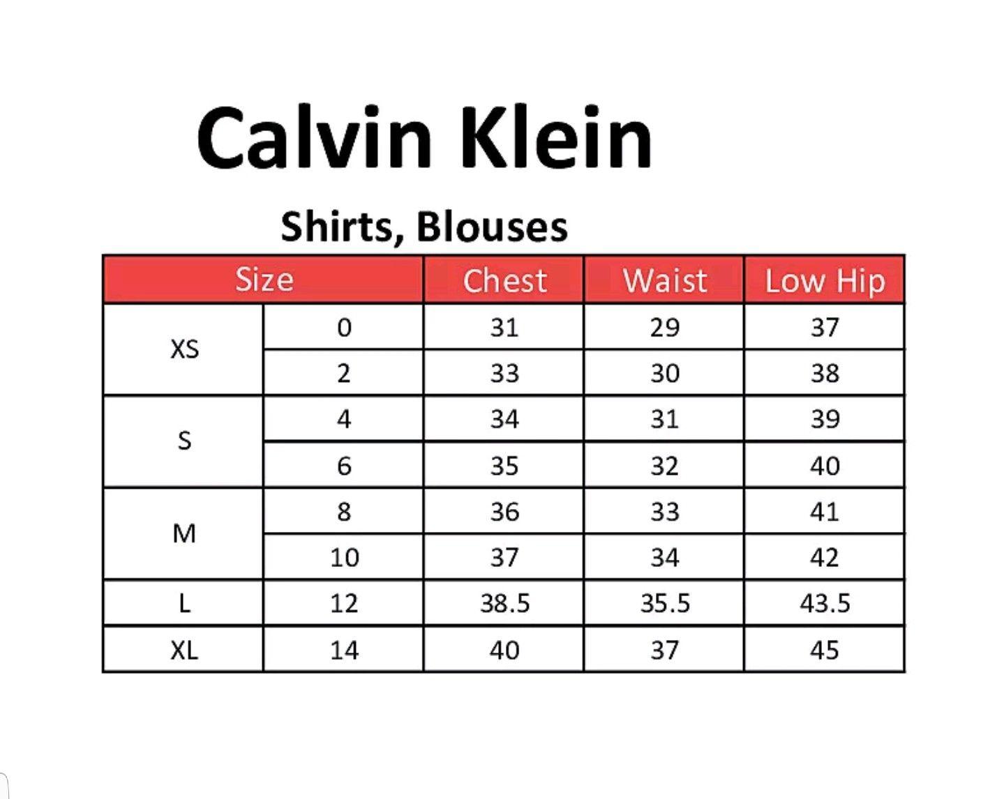 Calvin Klein Name Brand Clothing Size Charts Calvin Klein