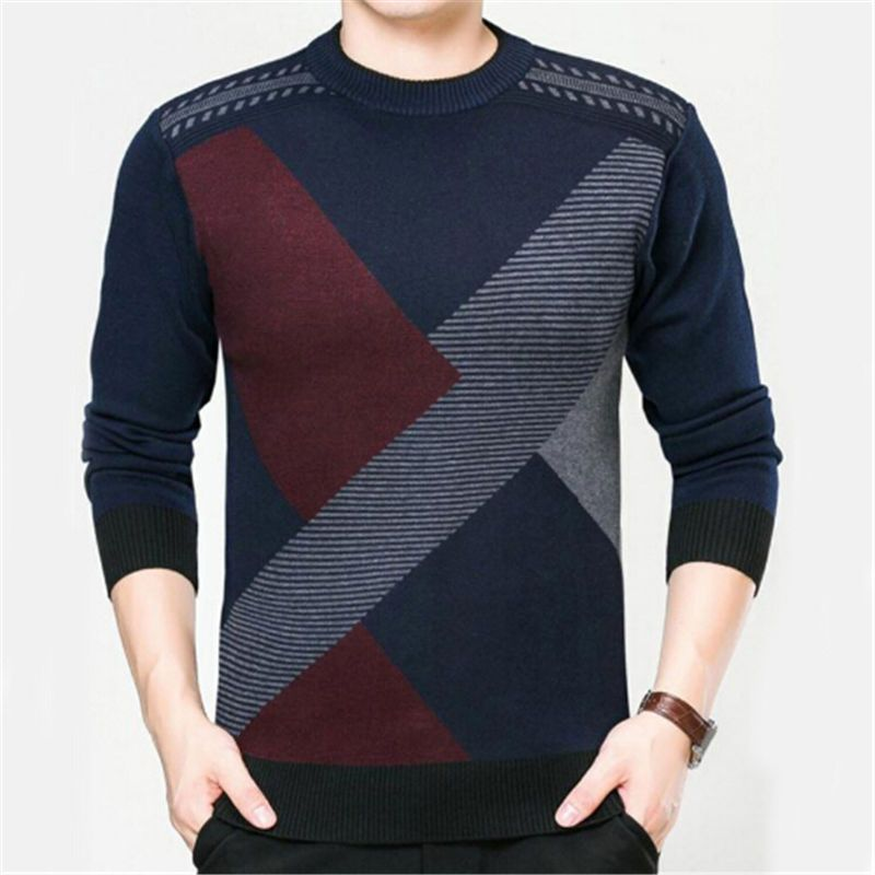 Winter Men Jumper Wool blends Knitted Sweater O-neck Long Sleeve ...