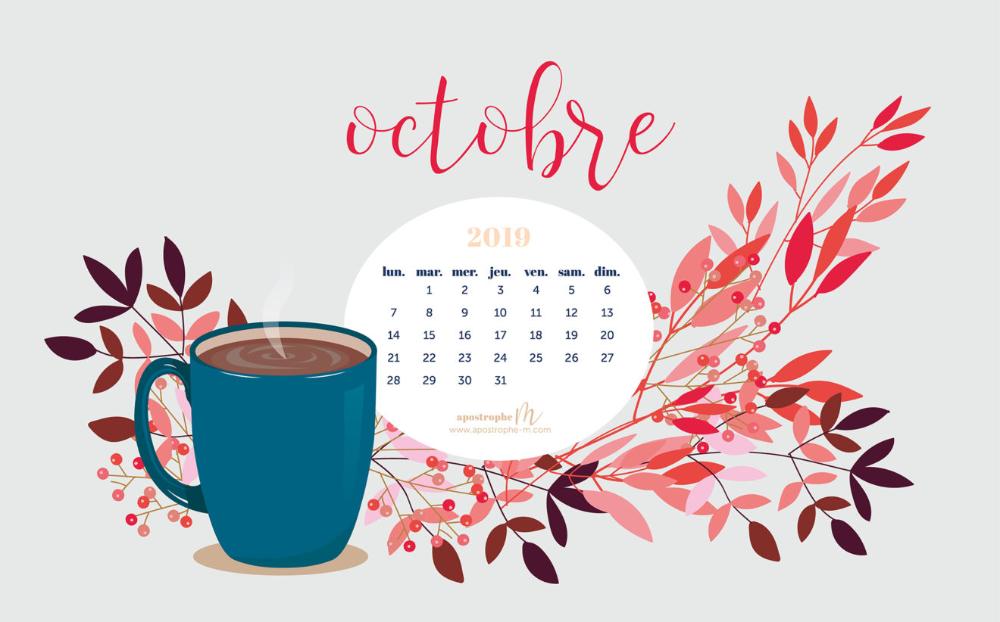 Fond d'écran pour ordinateur calendrier octobre 2019