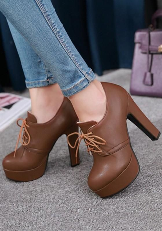e94e938f919 New Women Brown Round Toe Chunky Lace-up Fashion Ankle Boots in 2019 ...