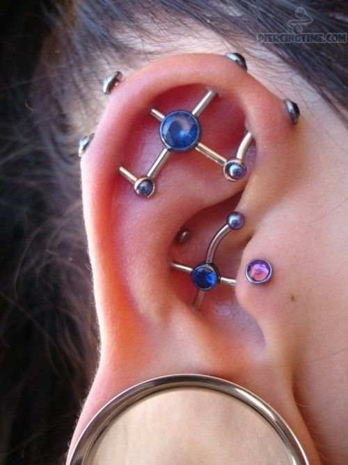 3 3 3 New Industrial Piercing And Big Lobe Stretching