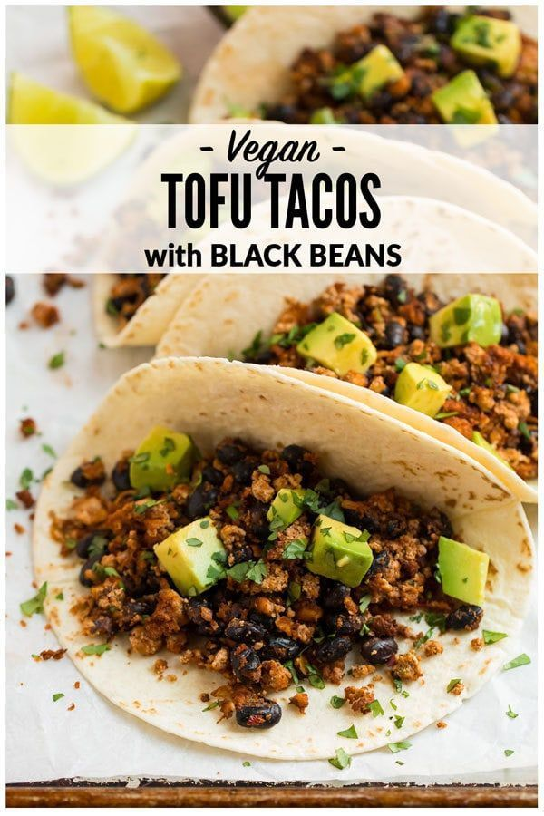 Tofu Tacos #vegetarianmeals Quick and easy Tofu Tacos with black beans. Crispy, lightly spicy, and delicious! A high protein vegetarian meal that's ready in less than 30 minutes. #wellplated #vegan #tofu via @wellplated