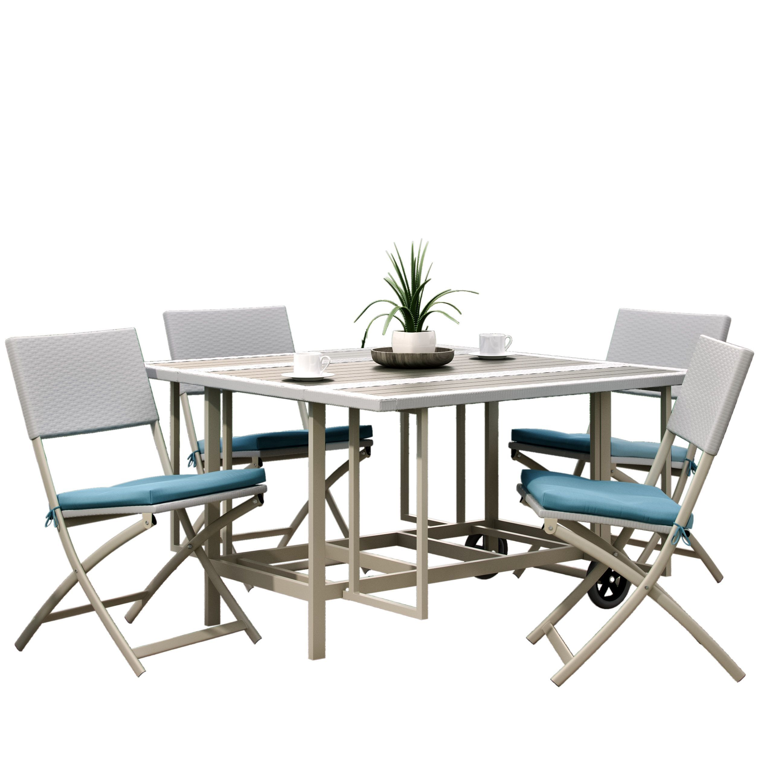 Corliving nantucket pc taupe and teal stowable folding patio dining
