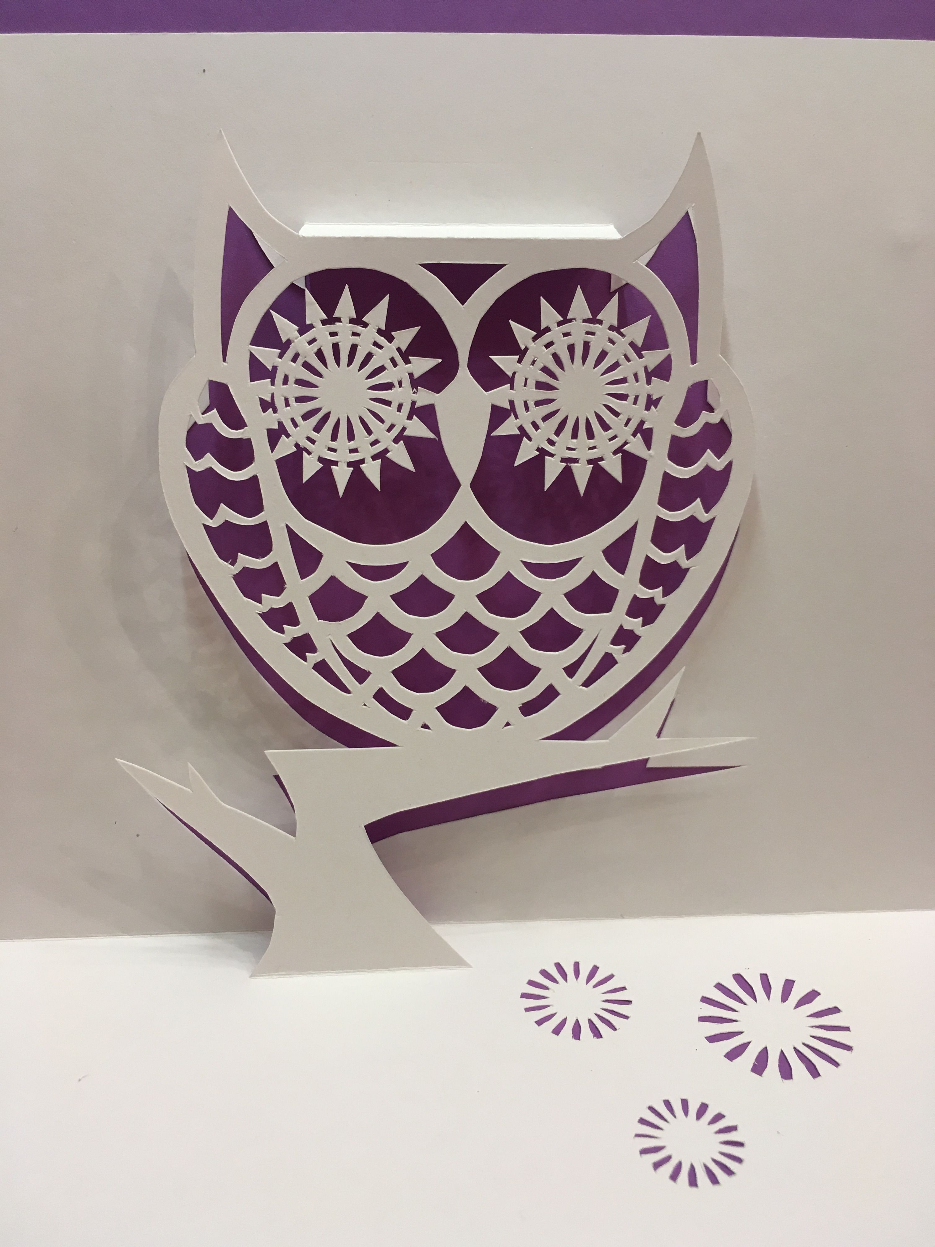 Owl pop up card template from Cahier de Kirigami 18