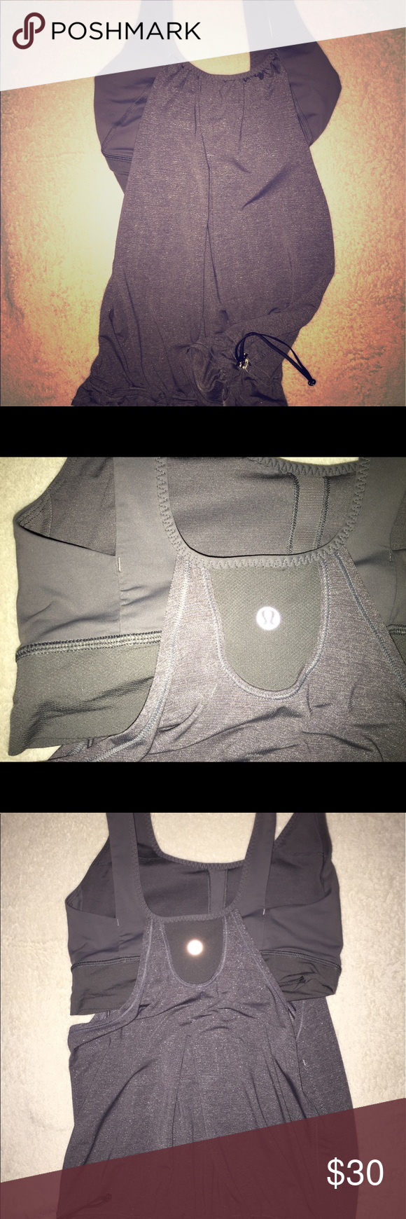 Lululemon No Limits Tank Grey Size 6, like New, deep grey color, no pads, no tags, lululemon athletica Tops Tank Tops