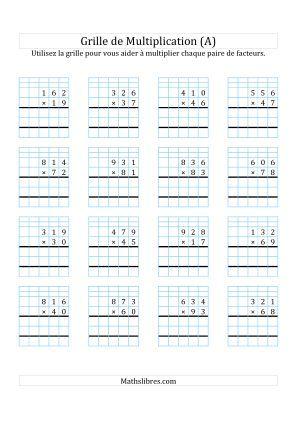 Multiplication de nombres 3 chiffres par des nombres 2 chiffres a ce2 maths pinterest - Evaluation ce2 multiplication a imprimer ...