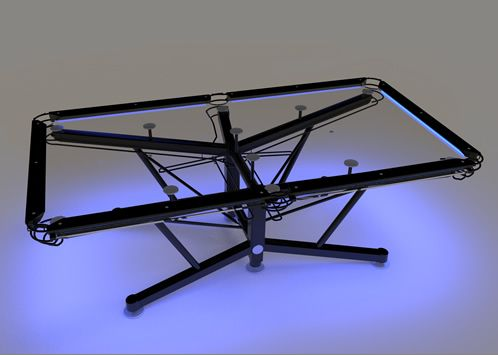 the g 1 clear pool table by nottage design this one with blacklights around