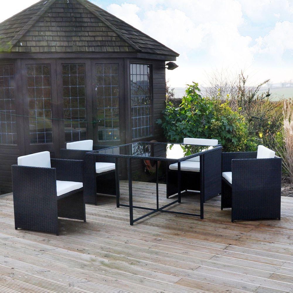 Cube Rattan Garden Set Furniture Patio 4 Seater Black