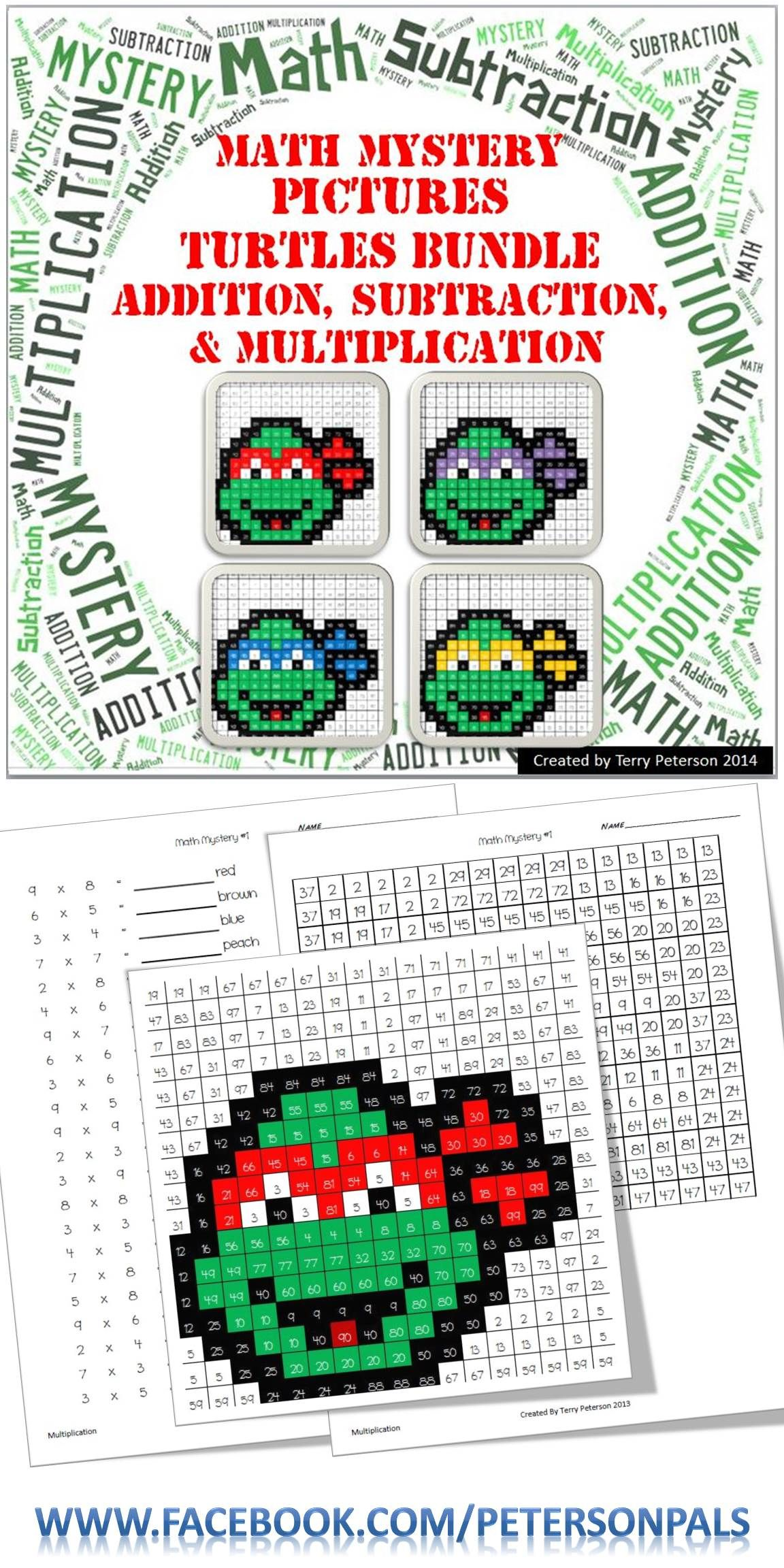 Ninja Turtles Math Mystery Pictures Bundle Addition