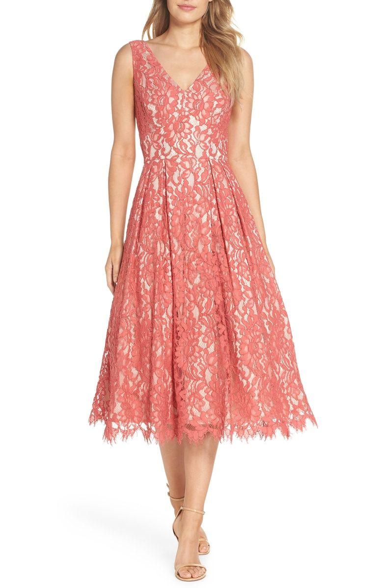 Eliza J V Neck Lace Midi Dress Nordstrom Formal Wedding Guest Dress Semi Formal Dresses For Wedding Wedding Guest Dress [ 1196 x 780 Pixel ]