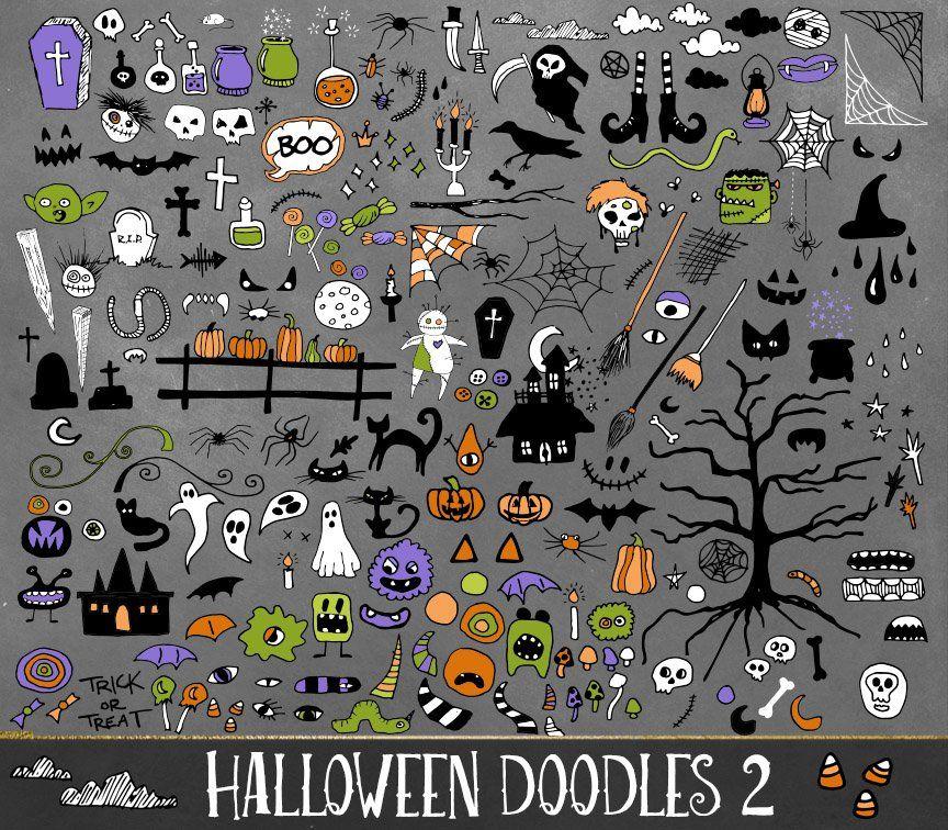 Halloween Doodles Vector Clipart , Sponsored, creative