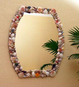 Espejos decorados con conchas de mar marino pinterest for Espejos ovalados decorados