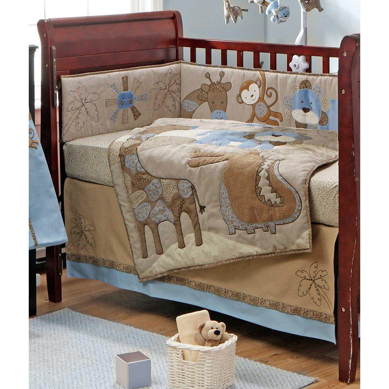 Mosaic Jungle Blue And Brown Boys Safari 4 Piece Crib Set Crib Bedding Boy Crib Bedding Sets Baby Bed