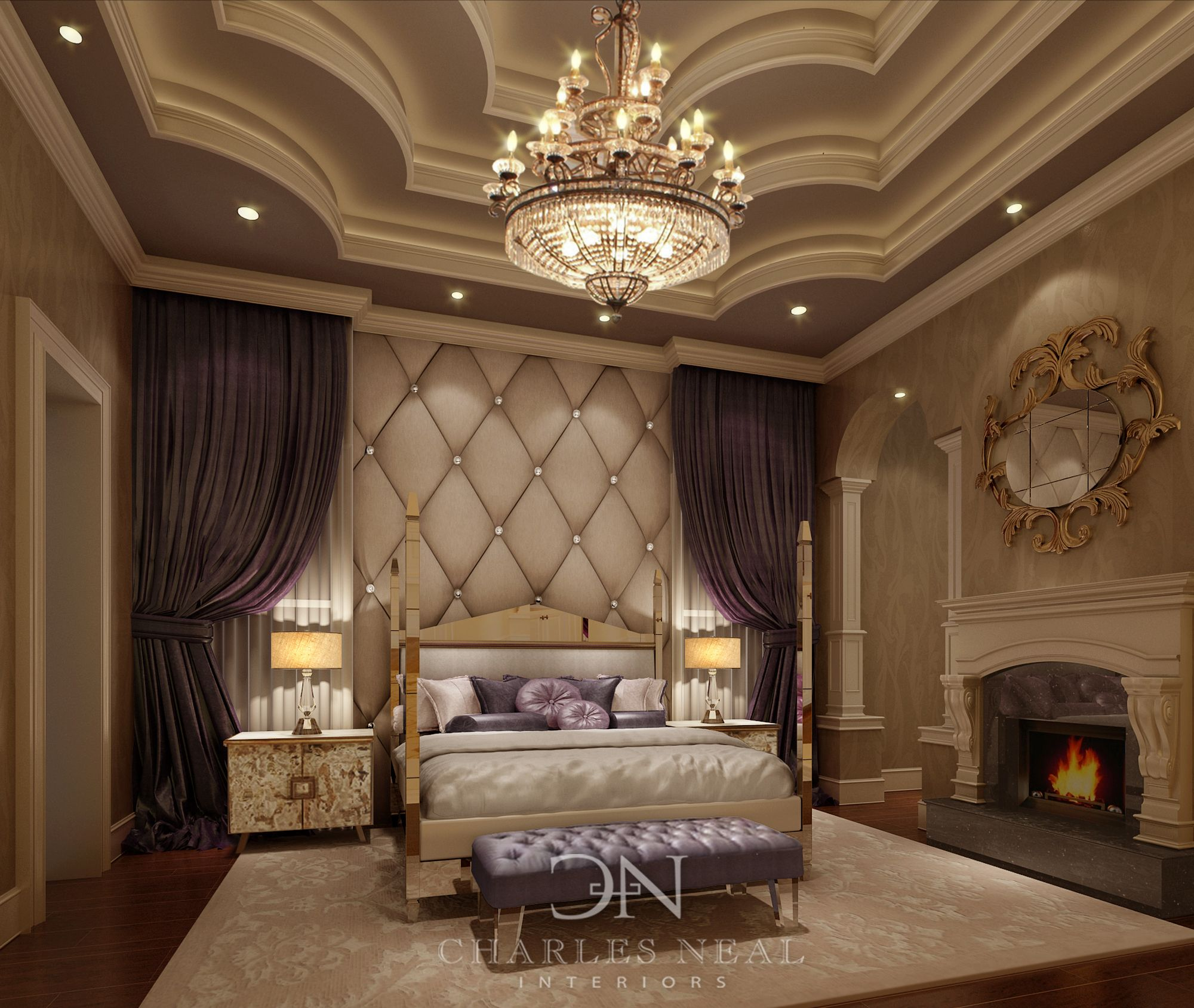 Castle master bedroom - Luxurious Master Bedroom By Charles Neal Interior