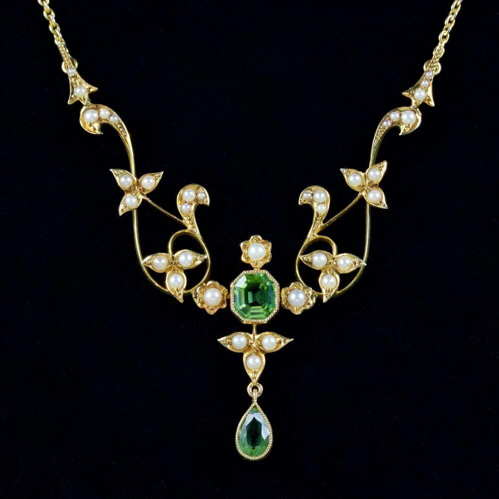prodotti di qualità grande vendita online in vendita Dettagli su Antico Vittoriano Peridot Collana di perle 15CT ...