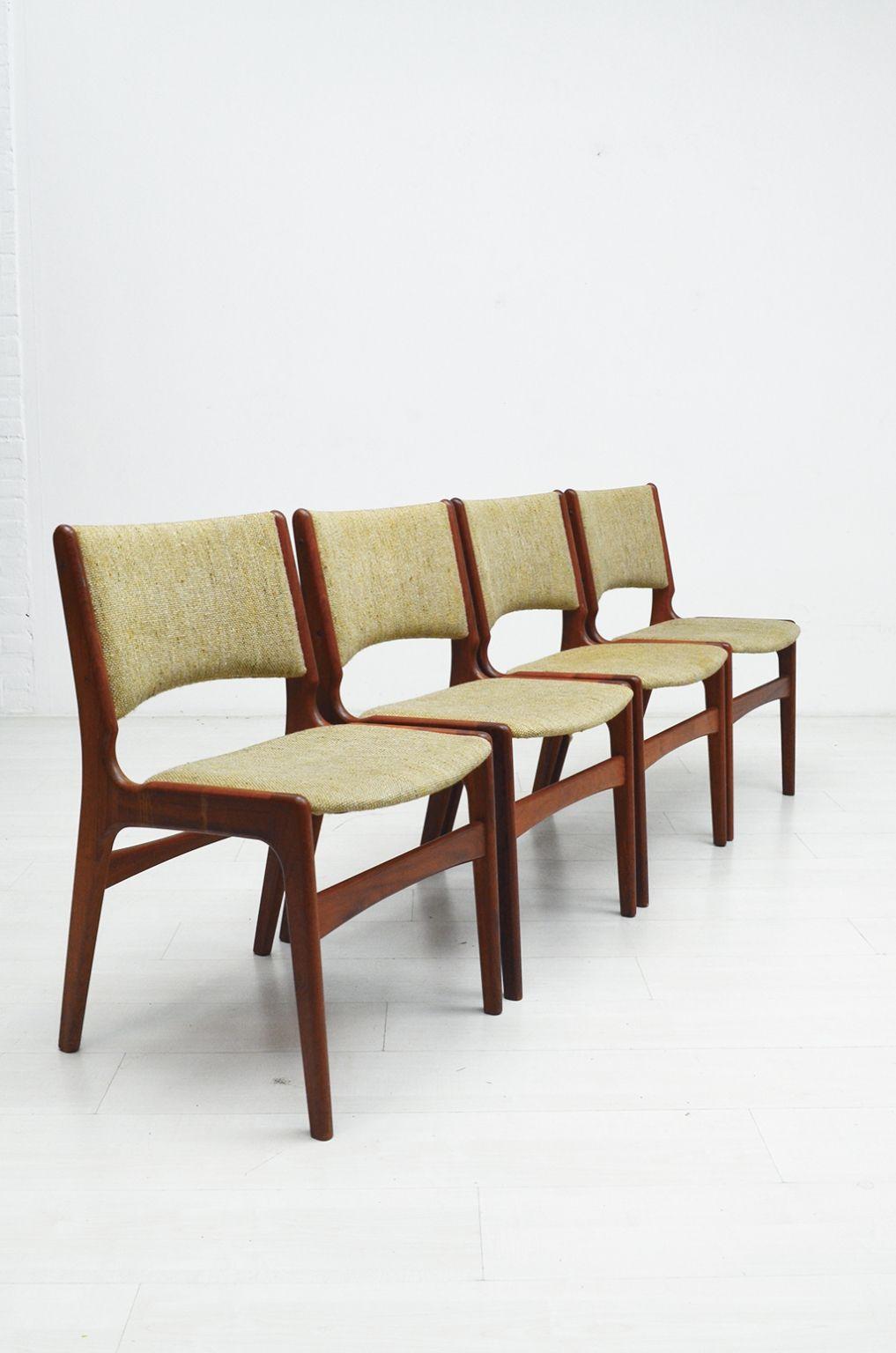 Prachtig set van vier Erik Buch stoelen uit de jaren 50 met