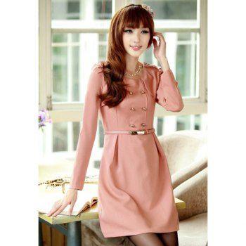 $18.24 Elegant Style Buttons Embellished Shoulder Design Long Sleeve Cotton Blend Women's Dress (With Belt)