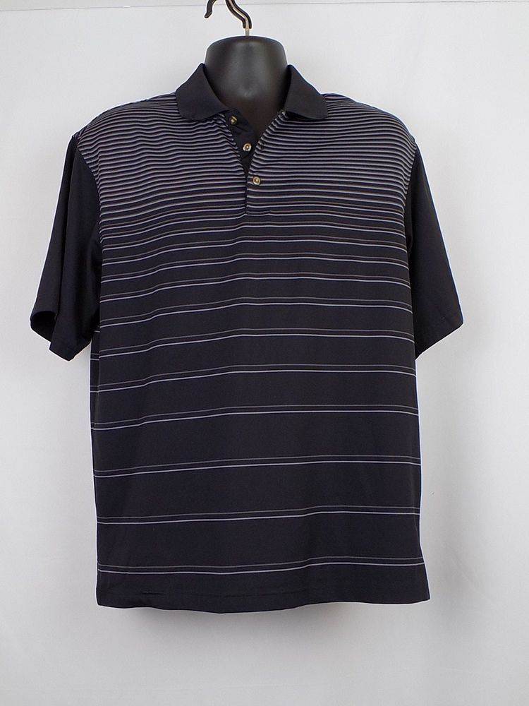 Pebble Beach Performance Men Golf Shirt Size M Black W Gray Stripes Pebblebeach