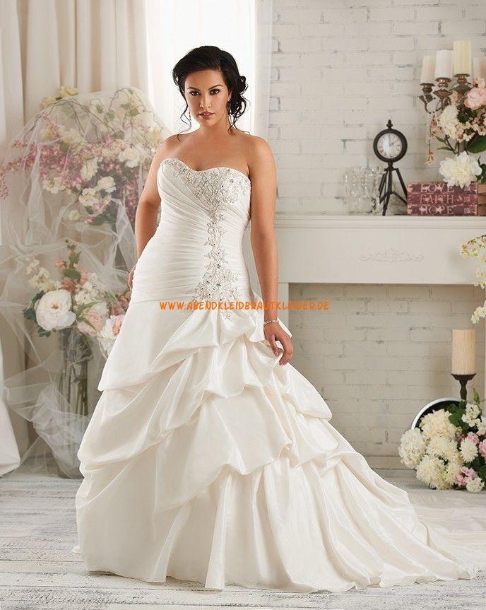 Bonny Asymmetrische Lange Brautkleider aus Taft mit Schleppe | dream ...
