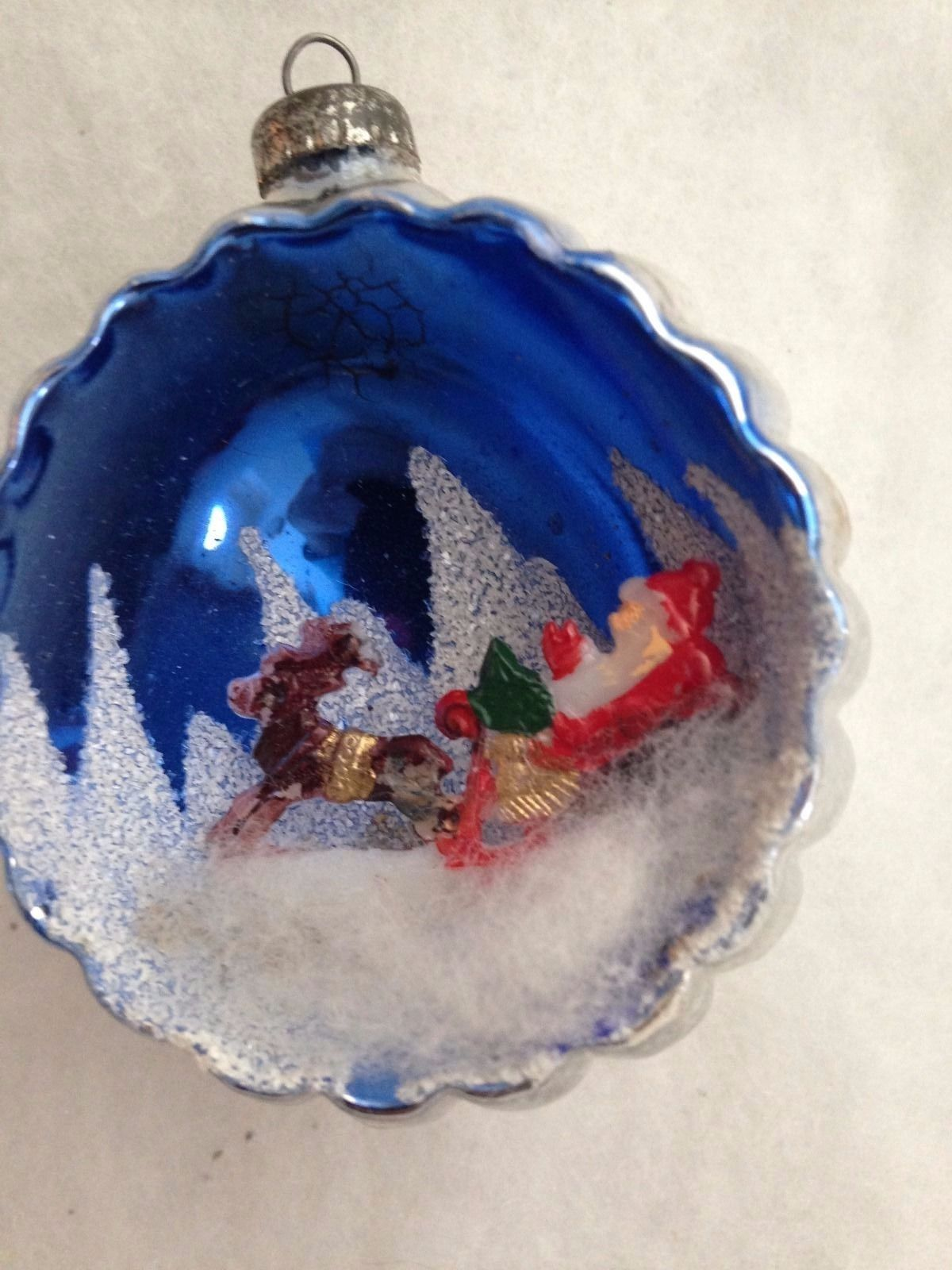 italy mercury glass indent diorama santa in sled with reindeer north pole sky ebay