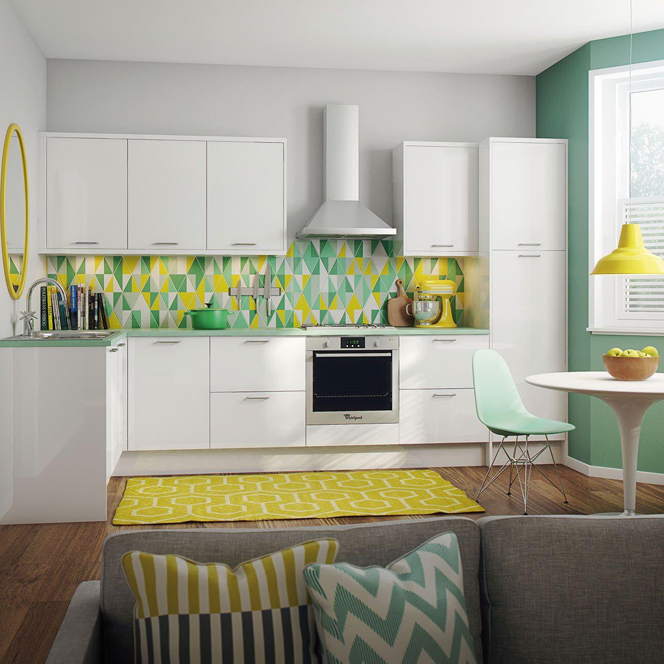 slab faced kitchen cabinets | Strata Gloss White Kitchen ...