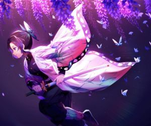 Shinobu Butterflies Run-Demon Slayer Live Wallpaper