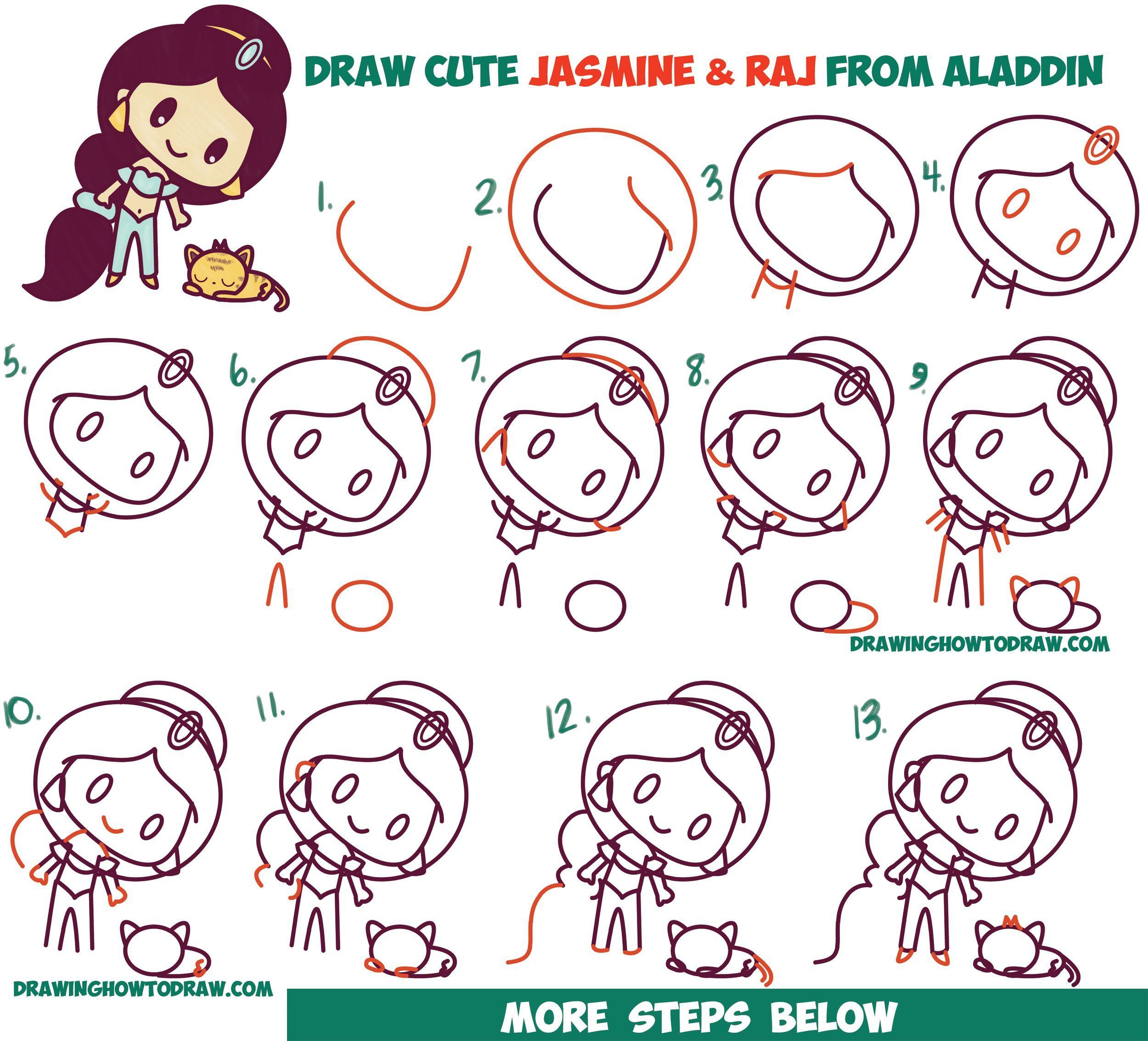 How To Draw Cute Chibi Kawaii Jasmine Raj The Tiger From