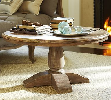 Montebello Reclaimed Wood Pedestal Coffee Table Pottery Barn Coffee Table Coffee Table Wood Round Wood Coffee Table
