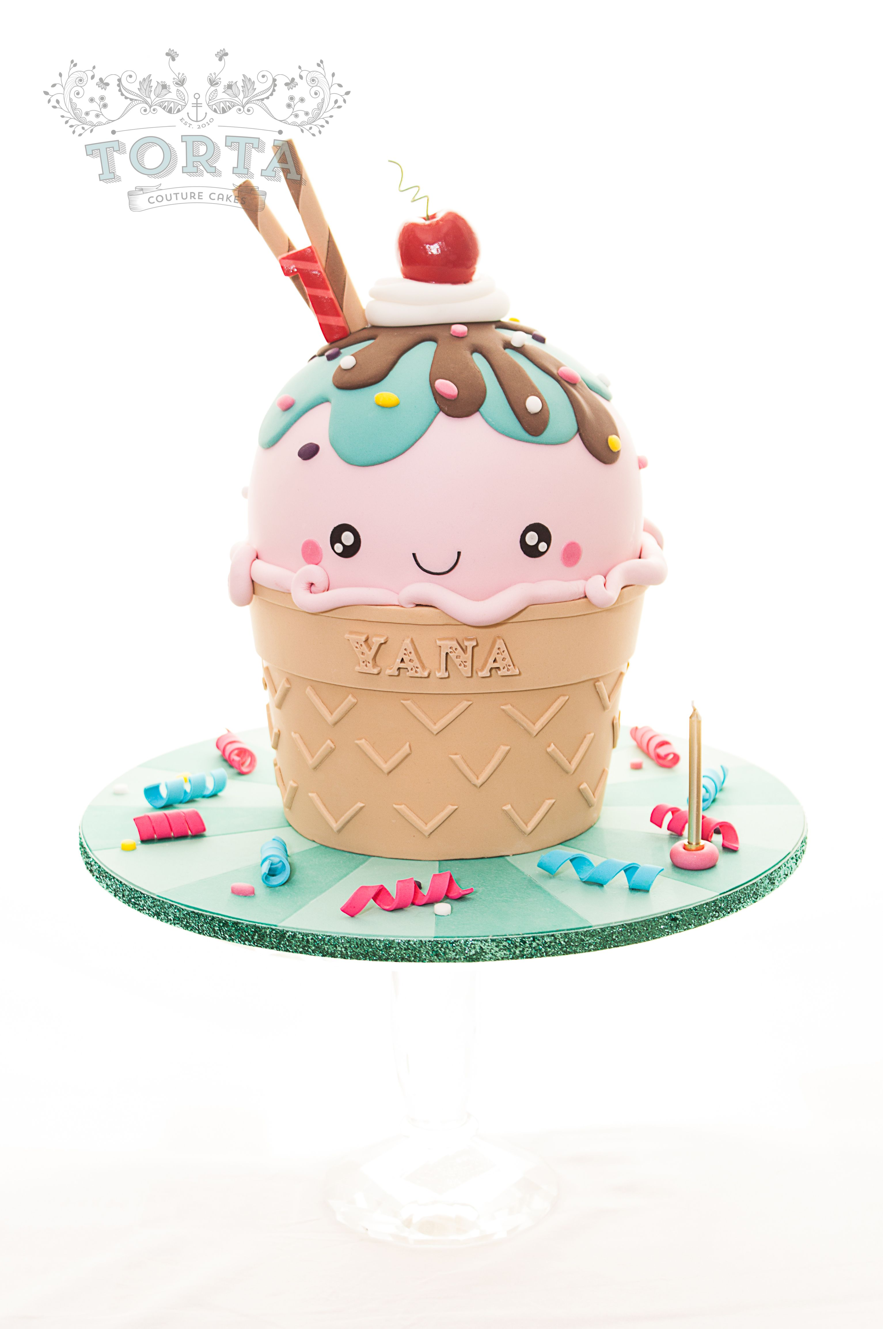 Kawaii inspired Ice Cream Cone Cake Wedding Party Celebration