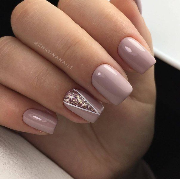 Manicure | Nails | Pink | Neutral | Accent Nail | Nail Design | Geometric |  Short Nails | Glitter | Rose Gold - Manicure Nails Pink Neutral Accent Nail Nail Design