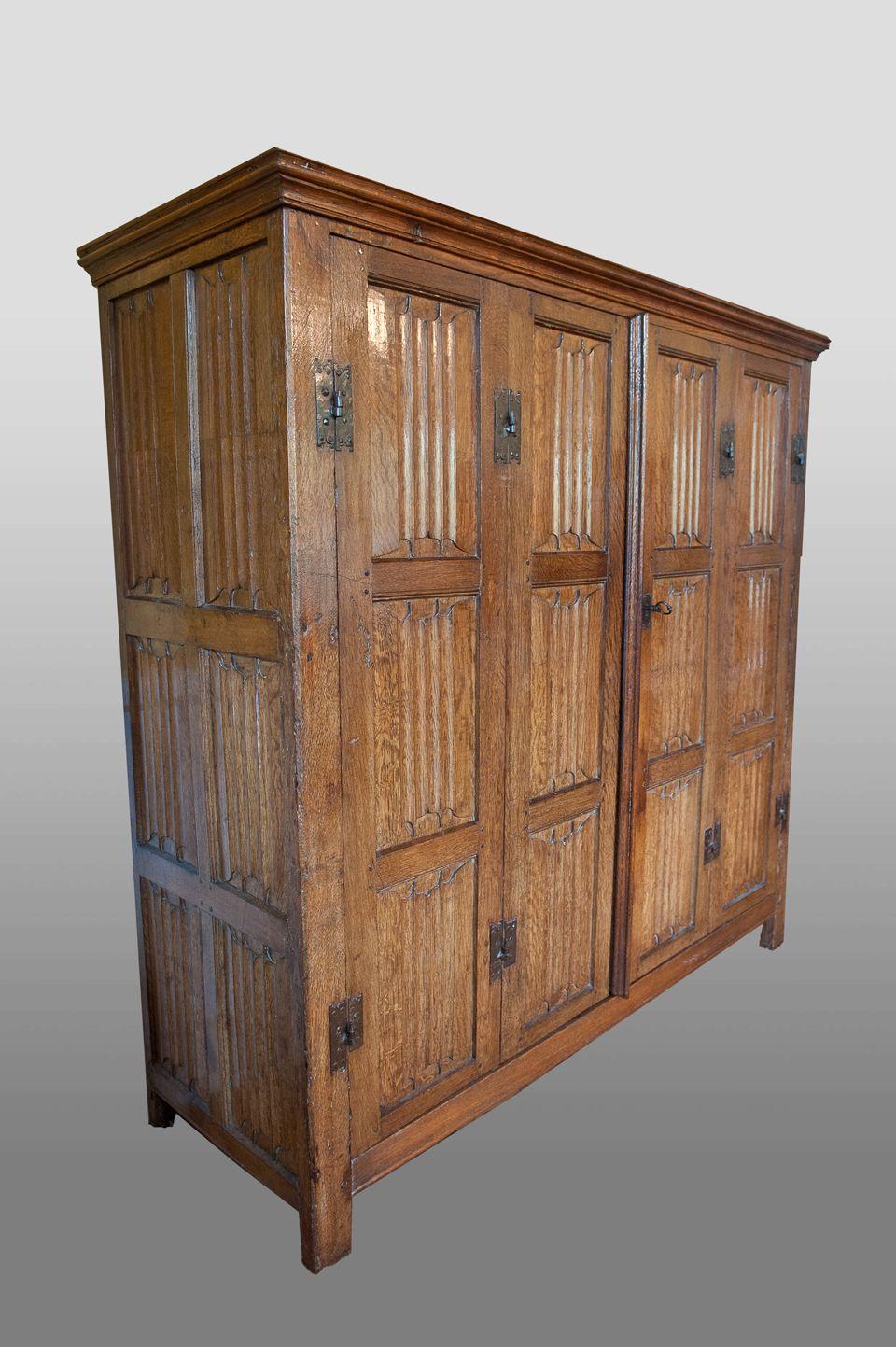 Marhamchurch antiques, linenfold armoire, circa 1500   Medieval ...