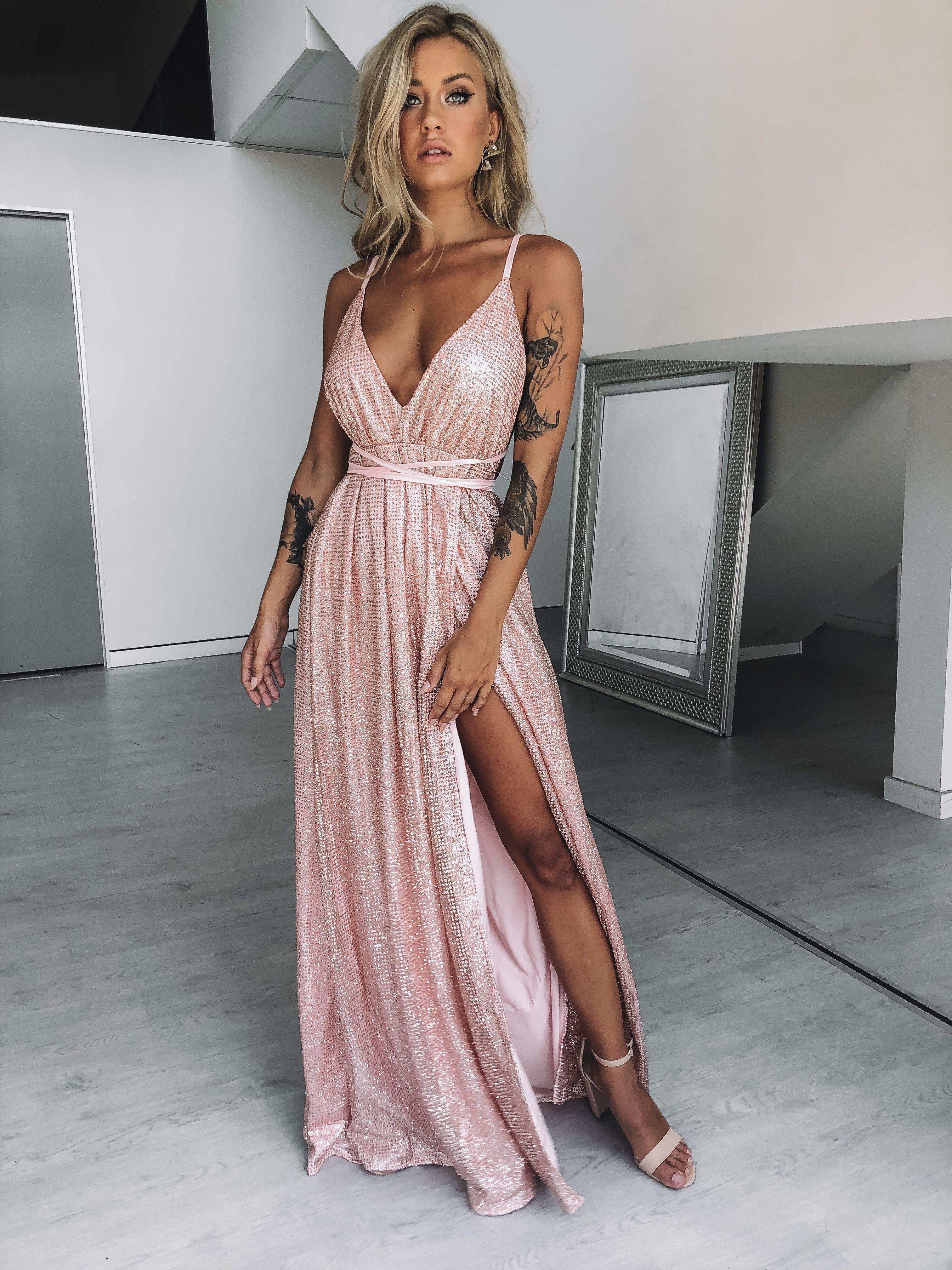 Rose Gold Glitter Prom Dress Em 2019 Vestido Longo