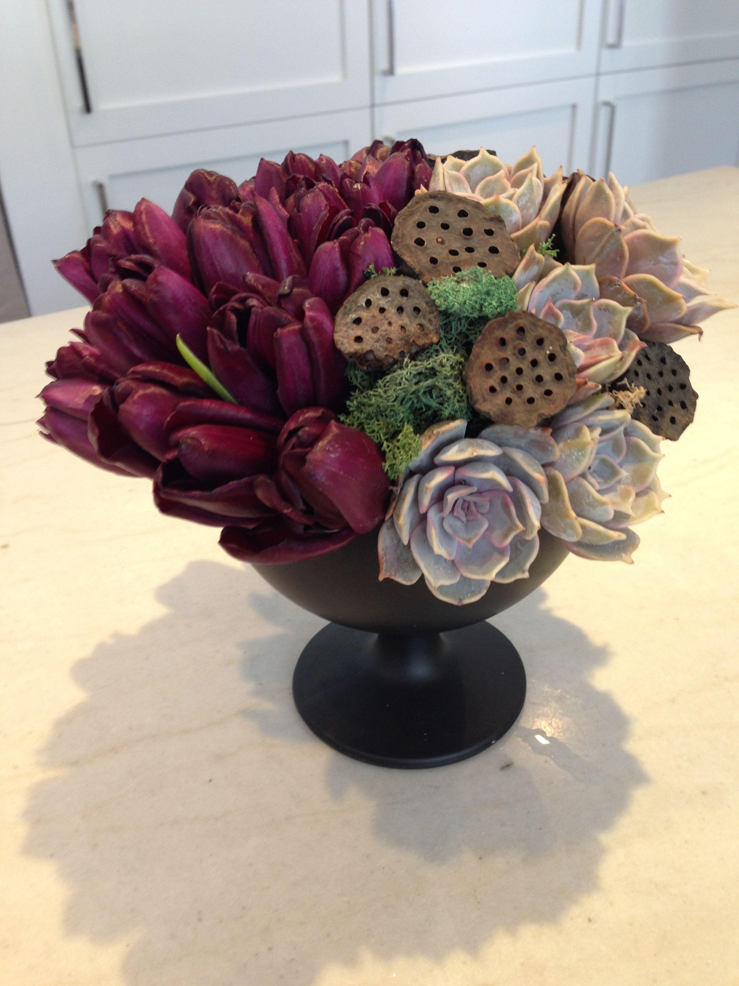 Deep Purple Tulip Flower Arrangement With Succulents Httpwwwparkerspetals
