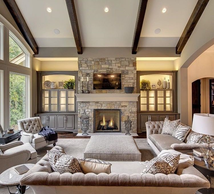 Perfect Ceiling Lights Semi Formal Transitional Living Room With Fireplace Ideas