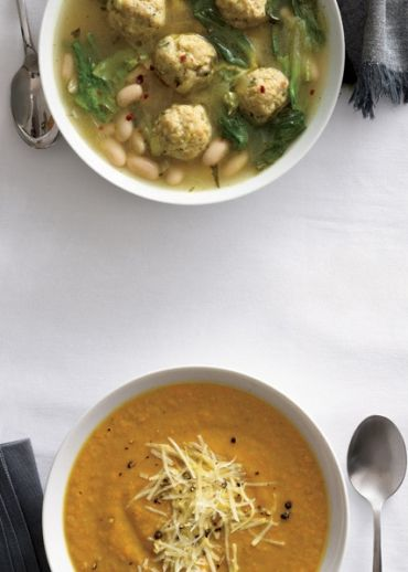Escarole White Bean Soup with Chicken Meatballs and Lentil Celery Root Soup.