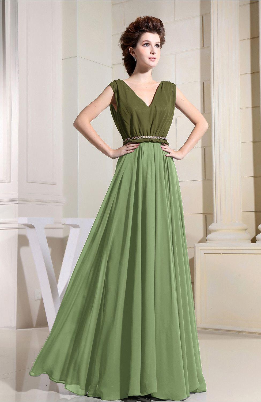 Casual wedding dresses with color  Sage Green Bridesmaid Dress  Modest Aline Sleeveless Chiffon Floor