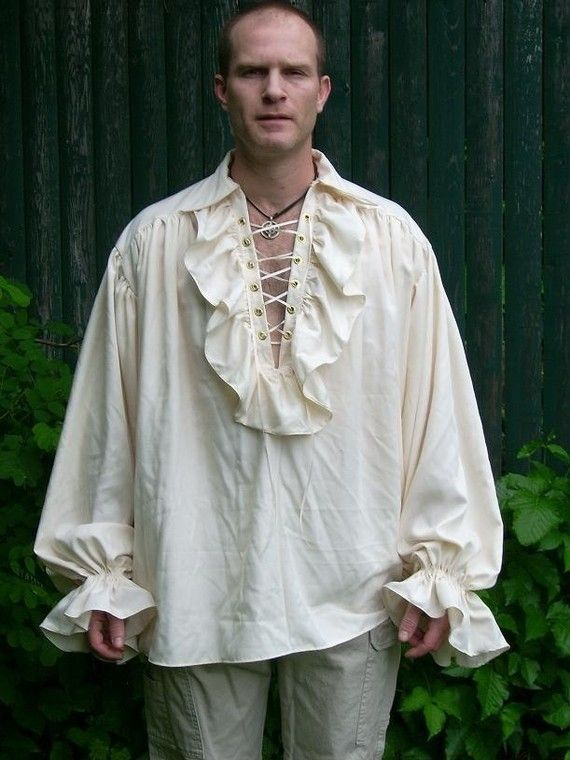 Medieval Renaissance Pirate Men's Ruffled Shirt Custom Made - and please !  send the matching MAN with the shirt...yes.